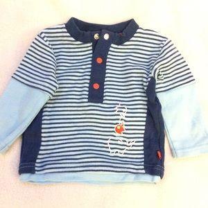 Petit Lem striped 100% cotton baby sweater 3M
